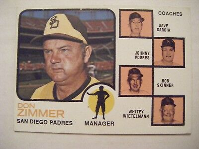 Don Zimmer Autograph 1973 Topps Baseball Card Signed San Diego Padres Sports Trading Cards
