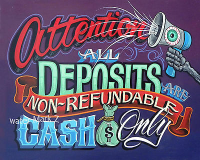 Tattoo Shop Policy  Print Cash  deposit policy art ink artist studio parlor