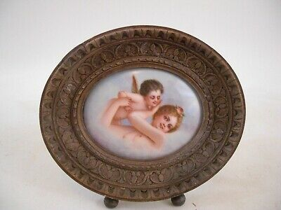 Putti Cherub Portrait Porcelain Hand Carved Frame Firenze Italy Grand Tour Style