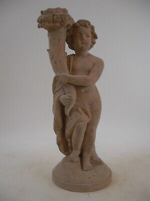 "12"" Terra Cotta - Cherub Putti Candlestick Figurine French Grand Tour Style 2of2"