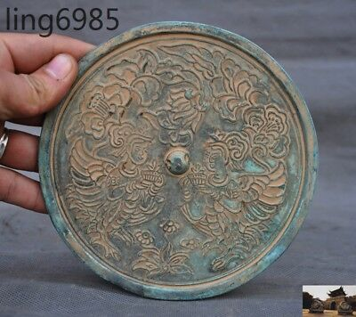 antique Chinese Bronze ancient Belle girl Flowers statue Exorcism Bronze mirror