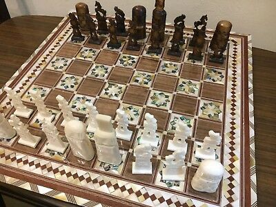HANDMADE CHESS PIECES Real Camel Bones & Chess Board Inlaid