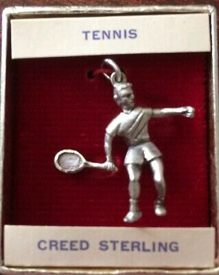 Vintage 1960's Silver Boy Playing Tennis Charm Pendant Creed Sterling New In Box