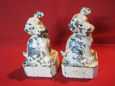 Vintage cast metal Wire Haired Fox Terrier dog bookends
