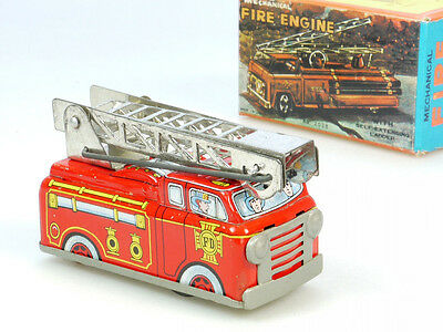 Yone Shackman 2038 Mechanical Fire Engine Feuerwehr Blech OVP 1308-20-18