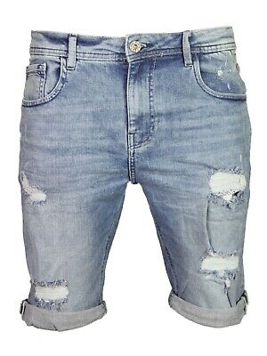 Mens Denim Shorts Slim Fit Stretch Ripped Distressed Casual Summer Half pants