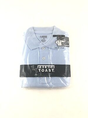 French Toast Blue Youth Kid's Long Sleeve Polo Shirt School Uniform Top Size 14