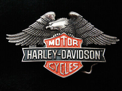 Qa09171 Vintage 1980 **Harley-Davidson Motorcycles** Chrome Solid Brass Buckle
