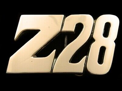 RJ05152 VINTAGE 1970s **Z28** CAR LOGO SOLID BRASS BARON BELT BUCKLE
