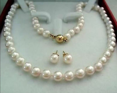 14K Gold Clasp 8-9MM White Akoya Cultured Pearl Necklace Earring AAA