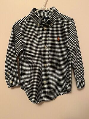 Boys Ralph Lauren Gingham Long Sleeve Button Down Cotton Twill Size 3/3T