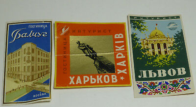 1940's 50's Moscow Russia USSR Advertising Propaganda Stickers Labels Lot