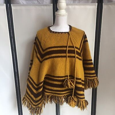 Womens Vintage Blanket Poncho Yellow Brown One Size Fits All