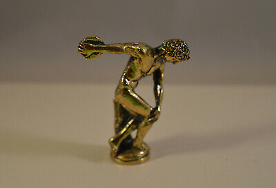 Vintage Discobol metal athlete figure,ancient greek style statue
