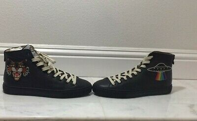 4200c856605 SOLDOUT - Gucci Leather High-Top with Appliqués - Black - Angry Cat - Rare