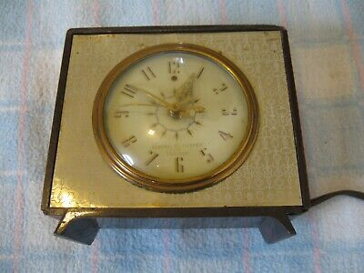 Vintage General Electric Telechron Alarm Clock Model 7H242 Gold w/ Leather WORKS