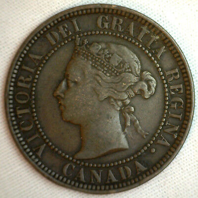 1888 Copper Canadian Large Cent One Cent Coin VF #10