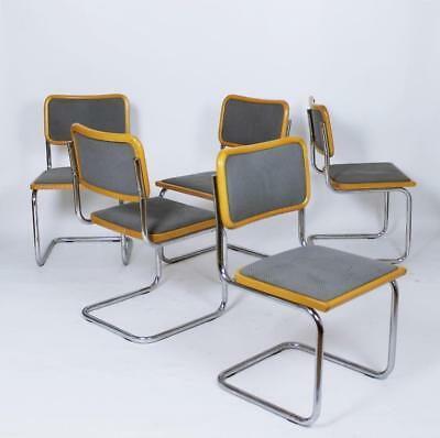 1 - 5 Bauhaus Classic  Cesca Chairs By Marcel Breuer  Italy 1990s