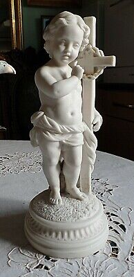 A Victorian Parian Religious Figure Of Baby Jesus Holding A Cross, 31cm High af