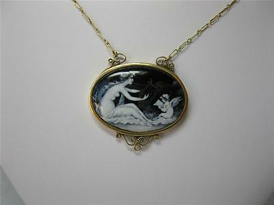 Limoges Enamel Rare Wedding Jewelry Antique 18K Gold Necklace Cupid Psyche