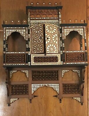 Antique Egyptian Wall Shelves, Console, Arabesque Work, Inlaid Mother of Pearl