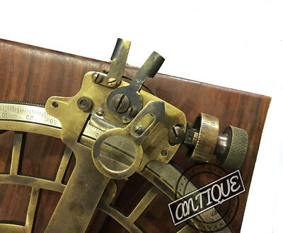 Antique Astrolabe Working Nautical Sextant Vintage Saxtant Wooden Box Xmas Gifts