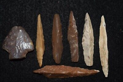 6 Mesolithic tools some may be punches or drills, different, 1 bifacial  tool