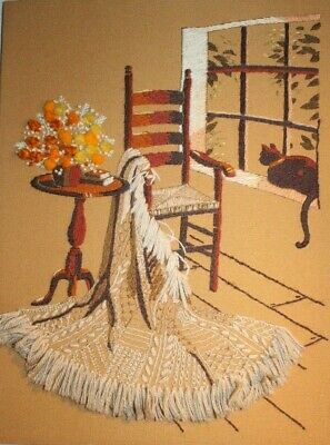 """Cozy Corner"" by Sunset Stitchery Crewel Embroidery Complete Finished Cat Floral"