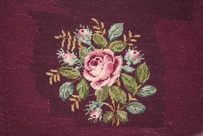 Large Roses Flowers Floral Purple Needlepoint Completed Wool Chair Seat Cushion