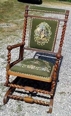 Platform Rocking Chair Hunzinger Needlepoint Seat 1870 Era Mahogany