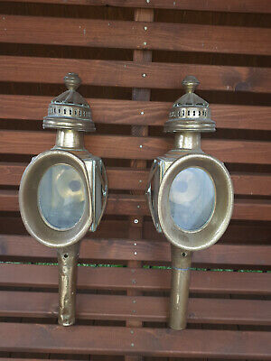 Victorian antique all brass coach lamps