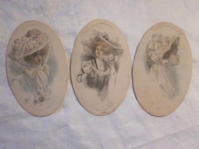 Vintage Sm Oval Original Pencil Drawing Large Hat 1890's Fashion Lady Trio Lot 3