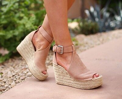 03ec077f8958 MARC FISHER ANNIE Perforated Espadrille Platform Wedge Sandal Size ...