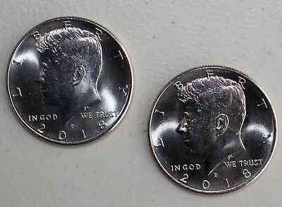 2018 P and D UNCIRCULATED Kennedy 2 Half Dollar Coin 50 Cents JFK Phili + Denver