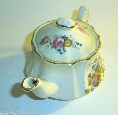 Vintage Royal Worcester Palissy England Petite Teapot Tea Pot Pink Rose Flower