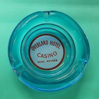 Vintage Blue Glass ASHTRAY OVERLAND HOTEL CASINO Reno Nevada - FREE SHIPPING