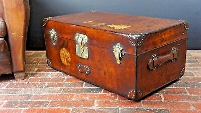 Antique Louis Vuitton Leather Steamer Trunk