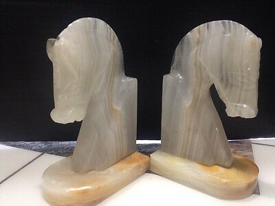 """5.5"""" set of marble horse head book ends Onyx Carved"""