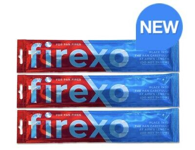 Firexo 3 PACK Single Use Fast Fire Extinguishing Sachets For Pan Fires Home Cafe