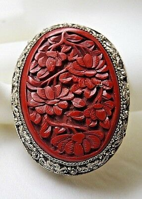 Vintage Antique  Chinese Sterling Silver  Filigree Cinnabar  Clip Marked China