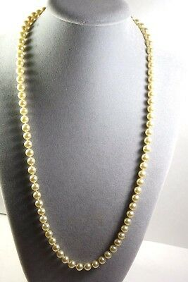 Vintage Pearl Imitation Glass  Bead Hand Knotted  Necklace. Chinese  Fish Clasp