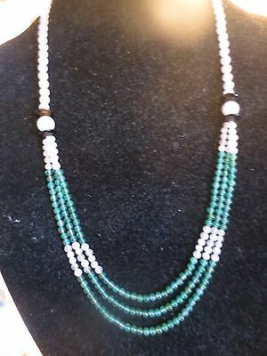 vintage CHINESE HAND KNOTTED POLISHED PINK QUARTZ /GREEN JADE  BEADS NECKLACE