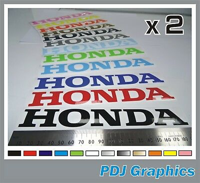 """2 x HONDA Vinyl Decals / Stickers Large (180mm 7"""") ANY COLOUR Tank / Bellypan"""
