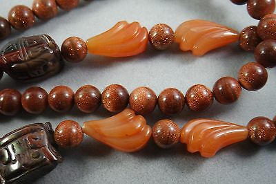 Vintage Antique Chinese  Carved Gemstone Pendant Necklace. Carnelian,bloodst