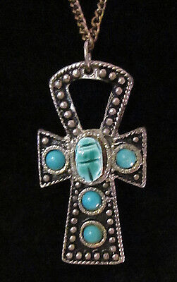Silver Tone Egyptian Ankh Cross Pendant Necklace Turquoise Toned Scarabs Summer