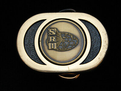 PI03102 VINTAGE 1970s **SWRI** SOUTHWEST RESEARCH INSTITUTE SOLID BRASS BUCKLE