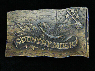 Qg25112 Vintage 1977 **Country Music** Commemorative Brasstone Belt Buckle