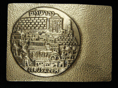 QJ09122 *NOS* VINTAGE 1970s **JERUSALEM** COMMEMORATIVE SOLID BRASS BELT BUCKLE