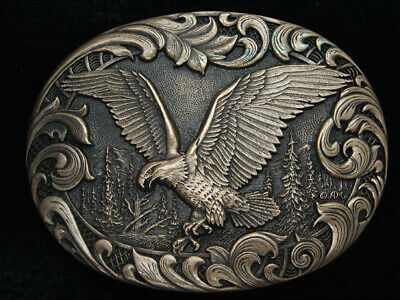 QC05138 VINTAGE 1980s **AMERICAN BALD EAGLE** ARTWORK SOLID BRASS BELT BUCKLE