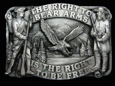 Qf13113 Vintage 1982 **The Right To Bear Arms** Second Amendment Belt Buckle